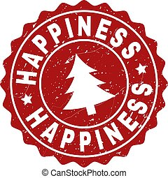HAPPINESS Grunge Stamp Seal with Fir-Tree