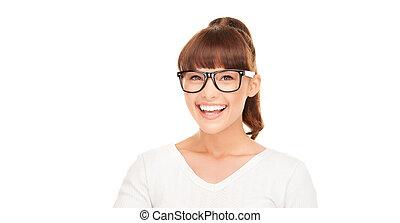 laughing asian woman in eyeglasses