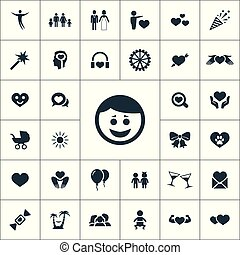 happiness icons universal set for web and UI