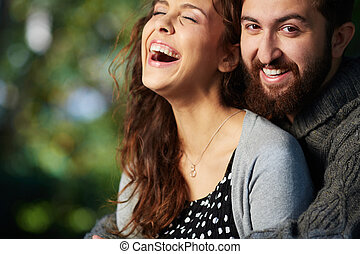 Happiness - Image of joyful couple outdoors