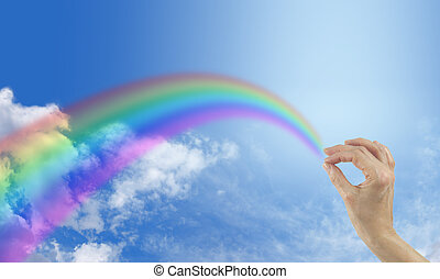 Happiness is a Rainbow - Big blue sky with fluffy clouds and...