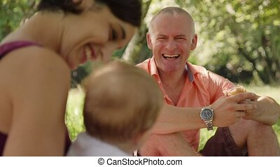 Happiness Joy Fun For Happy Family With Man Woman Child