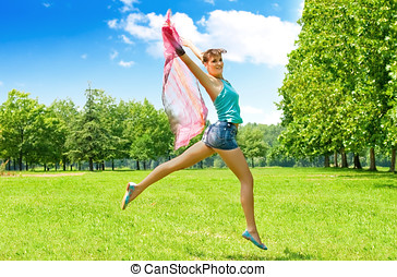 Happiness jumping woman