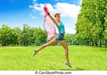 Happiness jumping woman