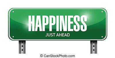 happiness just ahead street sign illustration