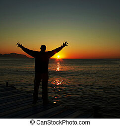 Happiness man silhouette