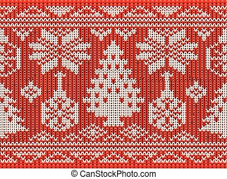 Happiness Merry Christmas seamless knitted background, vector illustration
