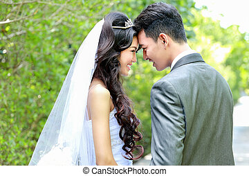 happiness of bride and groom being together