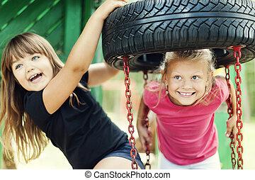 Happiness on playground