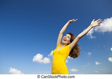 Happiness - Outdoor portrait of a beautiful and natural...
