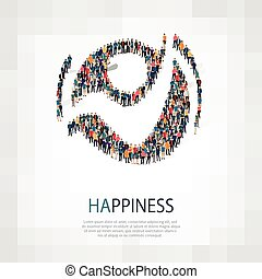 happiness people sign 3d