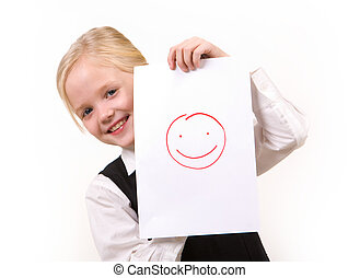 Happiness - Portrait of pretty girl with drawing of happy...