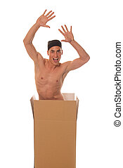 Happiness - Naked young man spread hands in carton