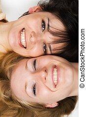 happy young women.
