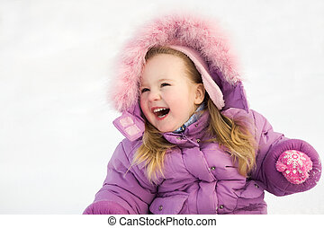 Happiness - Portrait of happy cute child in winter clothes...
