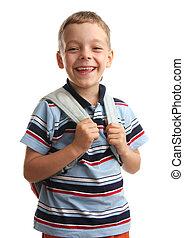 Happiness schoolboy wiht backpack