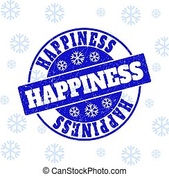 Happiness Scratched Round Stamp Seal for New Year