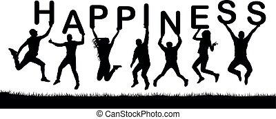 happiness., silhouette, gens, mot, leur, vecteur, sauter, lettres, tenir mains, heureux