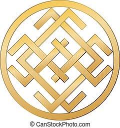 happiness., slavic, antiga, símbolo, riqueza, fortuna, bom, ...