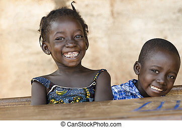 Happiness Symbol: Couple of African Children Laughing at...