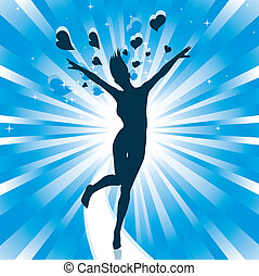 Happiness - Vector silhouette of a happy girl jumping with...