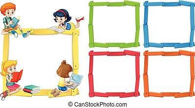 happpy, frame, boekjes , mal, lezende , kinderen