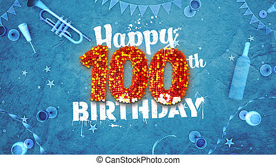 Happy 100th Birthday Card with beautiful details such as wine bottle, champagne glasses, garland, pennant, stars and confetti. Blue background, red and yellow figures from luminaries in the foreground. Sprayed typography. 3D design for printed cards and social media. Horizontal layout in the ratio ...