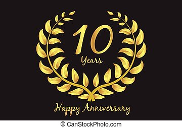 Happy 10th anniversary gold wreath laurel