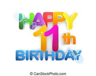 Happy 11th Birthday Title, light