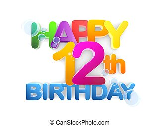 Happy 12th Birthday Title - Happy 12th birthday Title in big...