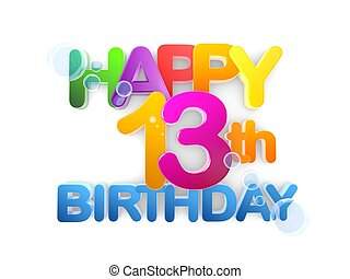Happy 13th Birthday Title, light