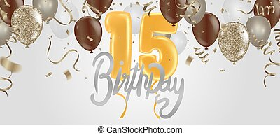 Happy 15th birthday colorful party balloons background