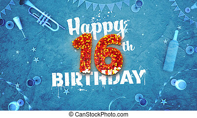 Happy 16th Birthday Card with beautiful details