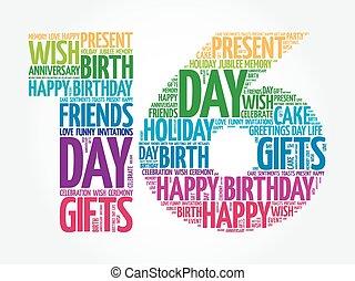 Happy 16th birthday word cloud