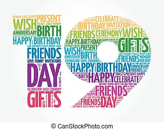 Happy 19th birthday word cloud