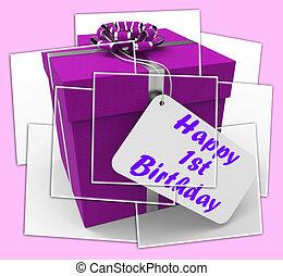 Happy 1st Birthday Gift Displays Celebrating Turning One
