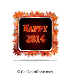 Happy 2014 burning button.