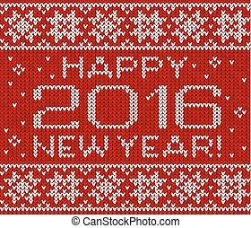 Happy 2016 new year  knitted greeting card