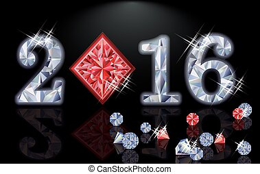 Happy 2016 New year ruby poker diamonds, vector illustration