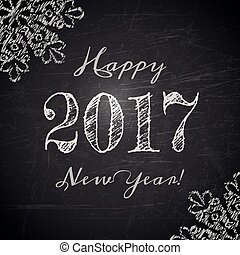 Happy 2017 New Year text design on black chalkboard. Vector ...