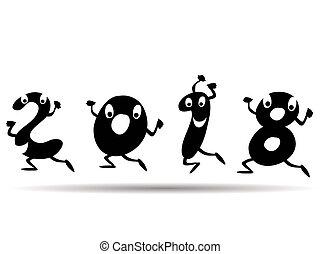 happy 2018 cartoon style