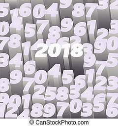 Happy 2018 New Year 3D background, vector illustration