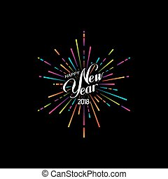 Happy 2018 New Year. Holiday Vector Illustration With...