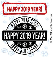 Happy 2019 Year! Grunge and Clean Stamp Seals for New Year