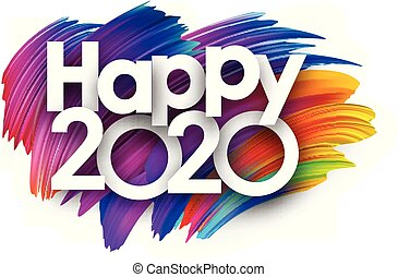 Happy 2020 new year festive background with colorful brush strokes.