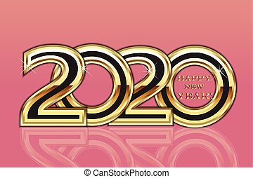 Happy 2020 new year gold party card background