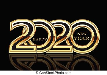 Happy 2020 new year gold party card vector background