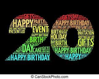 Happy 20th birthday word cloud