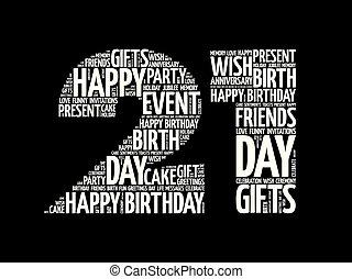 Happy 21st birthday word cloud