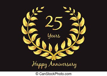 Happy 25th anniversary gold wreath laurel
